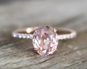 Oval Peach Sapphire Solitaire Diamond Engagement Ring in 14K Rose Gold