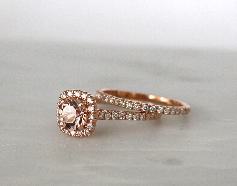 set morganite engagement rings in 14k rose gold halo diamond. Black Bedroom Furniture Sets. Home Design Ideas