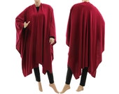 Boho knitted poncho cape wrap, fall winter wool knit poncho cape in berry  / lagenlook for small to plus size, S-XXXL, US size 8 up to 26
