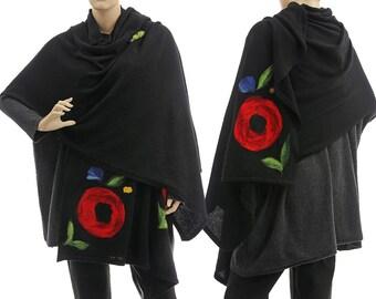 Knitted black boho shawl wrap scarf, black wool shawl + needle felt applications, black scarf small to plus size S-XXXL, US size 6 up to 24