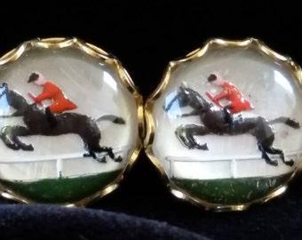 Fox Hunter Vintage Reverse Intaglio gold-toned post earrings. 13 mm