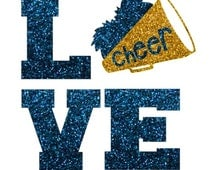 Glitter Cheer LOVE Iron On,  LOVE Cheerleading Iron On Transfer, Glitter Megaphone, DIY Cheer Shirt, Cheer Heat Transfer