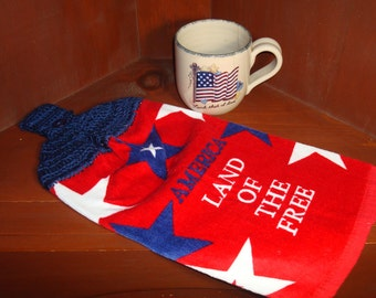 Dish Towel Red White and Blue Patriotic Star America Land Of The Free With Crocheted Topper For Hanging