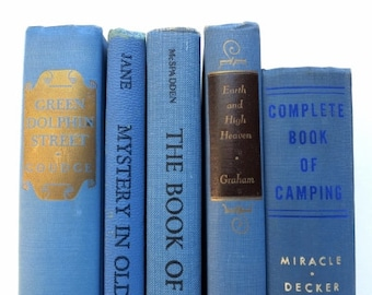 Cottage Chic Blue Vintage Books / Book Decor / Decorative Books / Instant Library / Book Bundle / Home Decorating / Wedding Decor