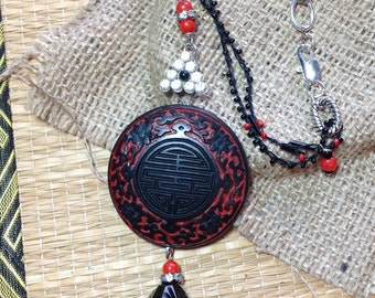 Large Carved Asian Pendant Necklace Crochet Beaded Chain Assemblage Statement Faux Black Red Cinnabar Hip Asian Rhinestone Silver WishAnWear