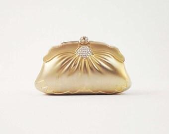 Vintage Art Deco Clutch - Gold Metal Hard Shell Evening Bag - Wedding Clutch w/ Rhinestone Detail & Chain Strap