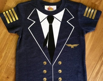 Airplane Pilot Captain shirt, Pilots costume, Travel Party, airplane birthday, Photo Prop, vacation, traveler, airport, planes