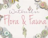 Flora & Fauna Boho Watercolor Clipart Collection