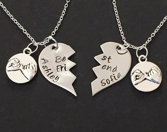 2 Best Friends Necklace with pinky promise charm, Hand stamped Jewelry, Little Girls Necklace, Hand Stamped Jewelry