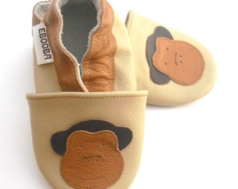 soft sole baby shoes leather infant kids monkey 6-12m ebooba MN-6-BE-M-2