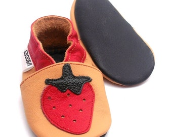 soft sole baby shoes handmade strawberry red yellow 12-18m  ebooba SB-3-Y-M