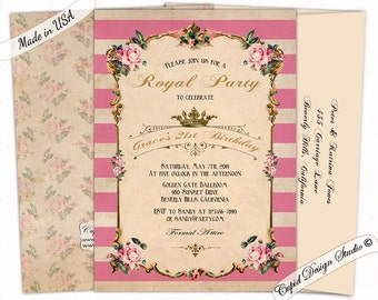 Tea party birthday invitation/custom birthday invitations/pink/gold/vintage/floral/women/quinceanera/sweet/16/sixteen/printable or printed.