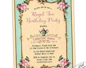 Tea Birthday invitation. Birthday brunch invitation. French Birthday invitation. digital diy printable or professionally printed.