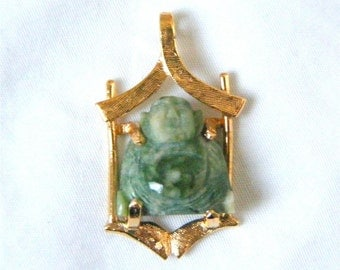 Vintage 18K Gold Jadite Jade Pendant Carved Buddha in Gold Temple c1960 ON SALE!