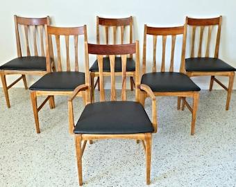 mid century modern walnut & oak high back black leatherette dining chairs