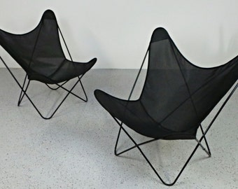 pair mid century modern Knoll Hardoy his & hers black butterfly chairs newly upholstered