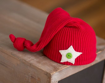 Christmas Hat Newborn Upcycled Hat Red Sleep Cap Newborn Photography Prop Ready to Ship Newborn Hat Newborn Boy Hat Red and Green Hat Star