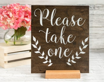 Boho Wedding Favor Sign - Please Take a Favor Sign with Stand - Wedding Sign with Laurels