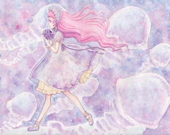 Jellyfish Lolita Print 10x8 6x4.5 Watercolor Sweet Cake Original Art Postcard