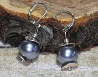 Grey glass nickel free lever back pearl earrings