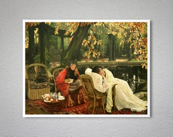 The Convalescent by James Tissot - Poster Paper, Sticker or Canvas Print