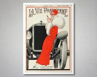 La Vie Parisienne, Au Salon de L'Automobile Vintage Poster by Rene Vincent, 1922  - Poster Paper, Sticker or Canvas Print