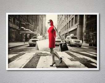Go Shopping Vintage Poster - Poster Paper, Sticker or Canvas Print