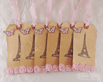 Eiffel Tower Gift Tags, Butterfly Tags, Shabby Chic Tags, Rose Trim Tags - Set of 6