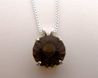 7.25 Carat Smoky Citrine Gemstone Pendant w/Chain Sterling Silver Hand Cut Gem