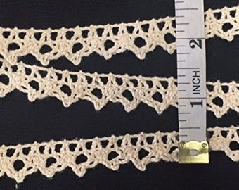 Item: A0503N3, 5 Yards Lot, Half Inch 100% Cotton Cluny Lace Trim with Scallops,