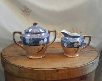 Blue and Peach Luster Cream Pitcher and Sugar Bowl, Iridescent with Gold Detail, Hand Painted