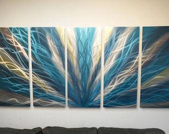 Metal Wall Art Aluminum Decor Abstract Contemporary Modern Sculpture Hanging Zen Textured - Radiance Teal 36x79