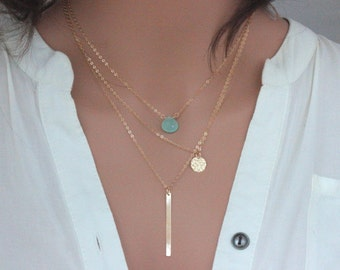 layered necklace , Gold Tripal Layered Bar/Disc/Gemstone , Three Layering Necklace Set , Gold Layering Necklace Set , Gold Layering Necklace