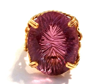Retro Large Amethyst Glass Gold Filled Wire Ring Size 6