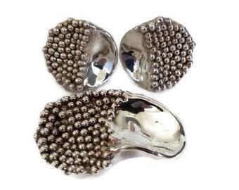 Modernist Organic Silver Bat Ami Brooch / Pin /Pendant / Earring Set