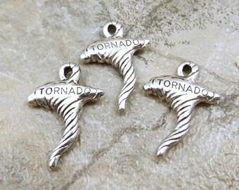 Set of Three (3) Pewter Tornado Charms  - 0110