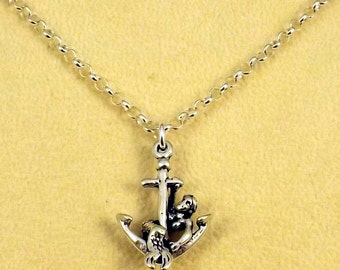 Sterling Silver Mermaid on Anchor Pendant on a Sterling Silver Rolo Chain Necklace - 1172