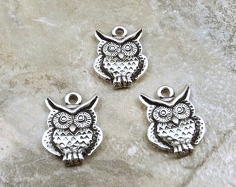 Set of Three (3) Pewter Owl Charms - 0744