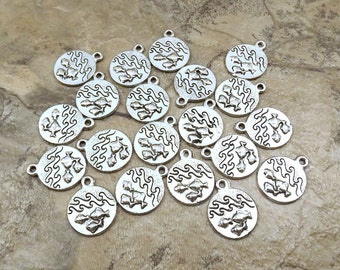 Set of Twenty (20) Pewter Four Elements WATER Pewter Charms - 0014