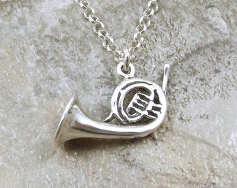Sterling Silver French Horn Charm on a Sterling Silver 3mm Rolo Necklace - 0096