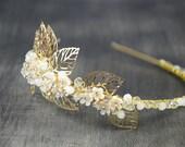 Bridal hair accessories, wedding halo, gold white grecian headband,  bohemian wedding hairpiece, leaf wedding crown, tiara, 1920s wedding