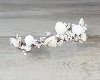 Seashell headpiece, Beach wedding hair accessories, Bridal headband, Seashell crown, Sea shell comb nautical wedding boho bohemian tiara