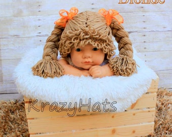 Crochet Cabbage Patch Wig/Hat. Made to order.