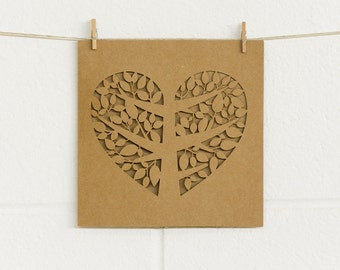 Laser cut rustic wedding invitation with love heart tree (DIY blank) - ideal for a country/ vintage/ vineyard/ barn/ shabby chic wedding