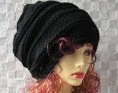 Man slouchy beanie Dreadlocks Beanie, Men Dread Hat, Man Hat Hand Knitted Tam Oversized  Slouch, black slouchy tam , Men's Hat
