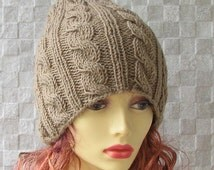 Light Brown womens hat, women slouchy beanie, Brown winter hat, slouchy knit hat, slouchy beanie hat, Brown slouchy hat