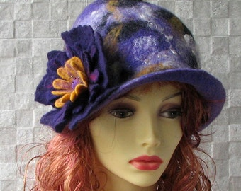 Winter Ladies Hat felted cloche hat, retro style hat, womens hats trendy, unique felt hat