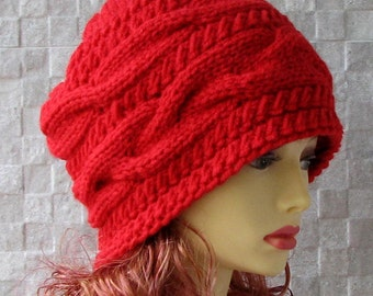 Parisian style, Winter Hat Kniited Beanie Hat, Knit Hat for Women Knit Hats Women,  Perfect Accessory for her Red Hat