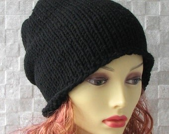 Black Mens Slouchy Beanie - Mens Slouchy Hat - Mens Slouch Beanie - Mens Winter Hat - Mens Hats - Mens Beanie