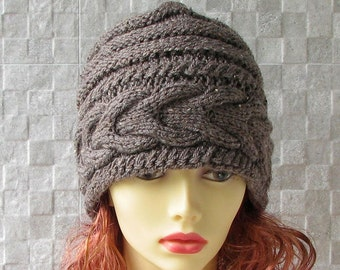 SALE - Hats for women Taupe Beanie  hat, women slouchy beanie, winter hat, slouchy knit hat, slouchy beanie hat, Brown slouchy hat